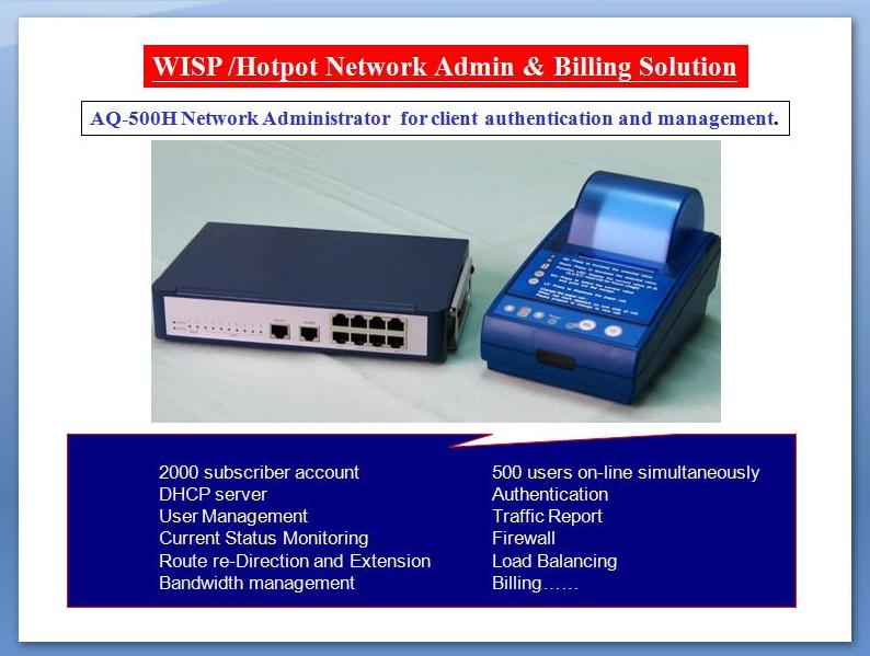 WISP & Hotspot  Gateway, Network Administration and Billing System